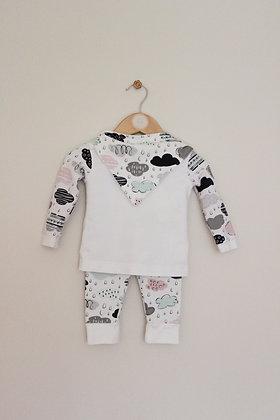 Buttons Hippo cloud themed jersey 3 piece set (3-6 months)
