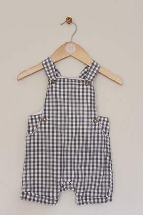 TU grey checked cotton dungarees (age 6-9 months)