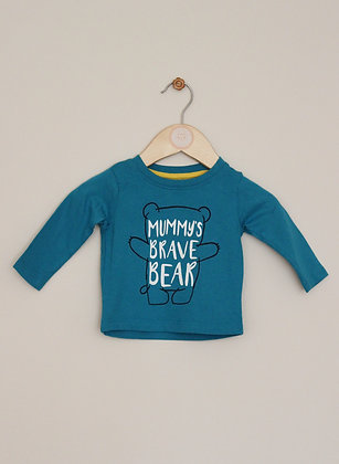 Lullaby by Peacocks blue top with 'Mummy's brave bear' design (age 0-3 months)