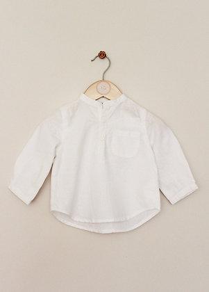Mila Blue (Vertbaudet) linen blend mandarin collar shirt (age 9 months)