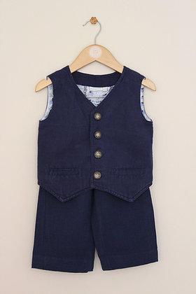 Jojo Maman Bebe navy boys linen blend suit (age 2-3)