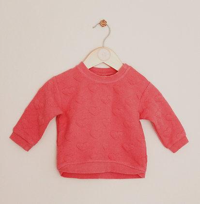 H&M pink heart sweatshirt (age 4-6 months)