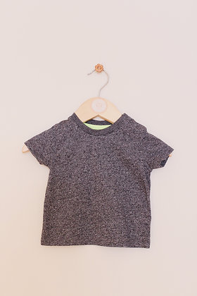 F&F black and grey flecked t-shirt (age 0-3 months)