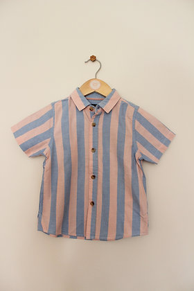 Autograph cotton blue and pink striped shirt (age 3-4)
