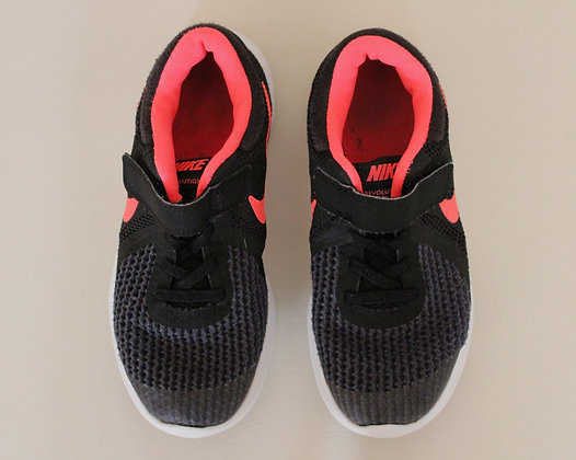 Nike black mesh trainers with coral trim (size 1)