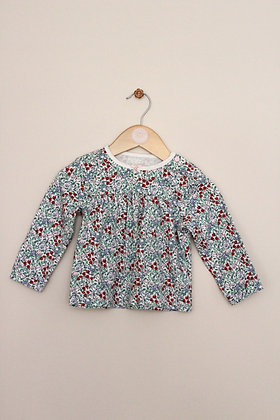TU cream long sleeved floral top (age 12-18 months)