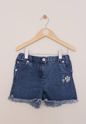 Hullabaloo denim shorts with floral motif (age 5-6)
