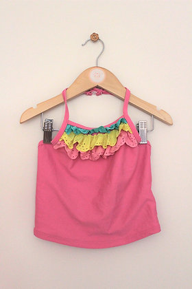 M&S pink frilled halterneck tankini (age 6-7)