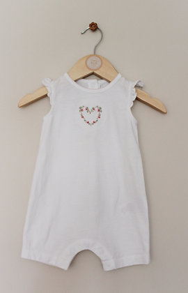 The Little White Company embroidered white romper (age 3-6 months)