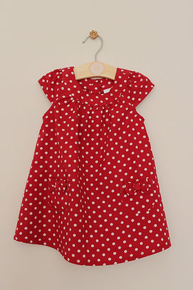 Bluezoo red spotty dress (age 6-9 months)