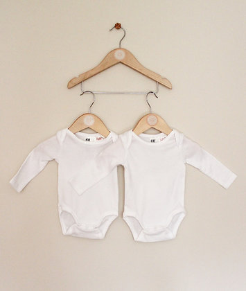 2 x H&M long sleeved white bodysuits (age 1-2 months)