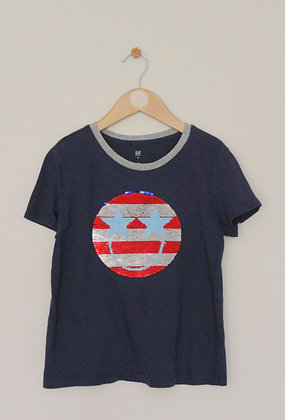 Gap navy t-shirt with flip sequin face design (age 8-9)