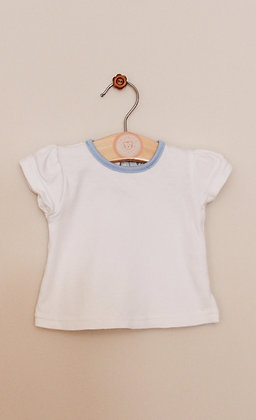 Watch Me Grow white t-shirt with blue trim (age 0-3 months)