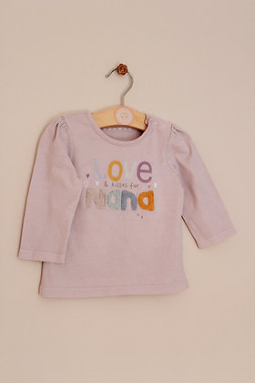 Nutmeg lilac top with 'Nana' slogan (age 6-9 months)