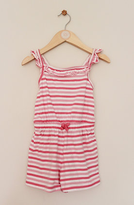 George pink striped strappy playsuit (age 3-4)
