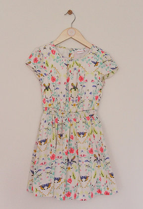 Bluezoo cotton lined bird and flower print cream dress  (age 7)