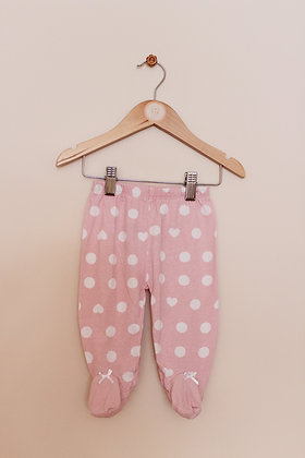 Disney baby pink spotted leggings with feet (age 3-6 months)