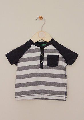F&F navy and white button neck t-shirt (age 3-6 months)