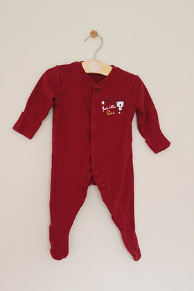 Primark maroon 'I'm your little star' sleepsuit (age 0-3 months)