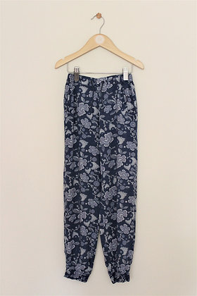 Vertbaudet blue floral cuffed cotton trousers (age 7-8)