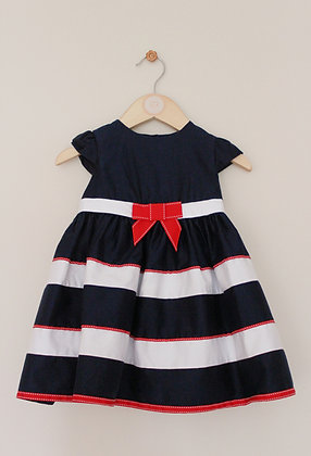 John Lewis navy and white layered occasion dress (age 9-12 months)
