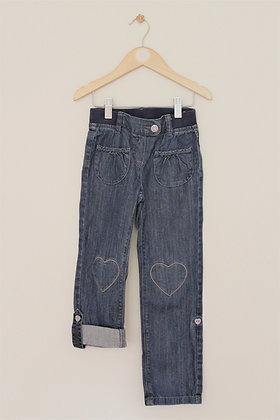 Vertbaudet lightweight jeans with heart knee patches (age 6)