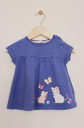 John Lewis blue applique t-shirt (age 9-12 months)