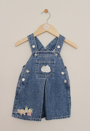 Bear Hugs denim pinafore with embroidered decoration (age 3-6 months)