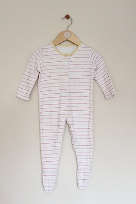 George white and pink striped sleepsuit (age 9-12 months)