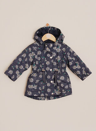F&F lined blue parka style raincoat (age 6-9 months)