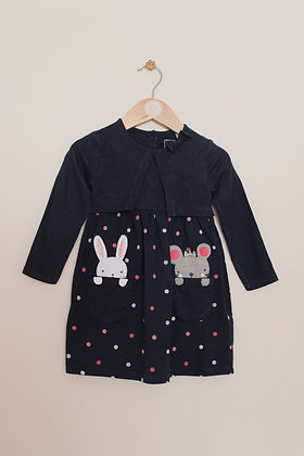 Bluezoo navy mock layer bunny dress (age 12-18 months)