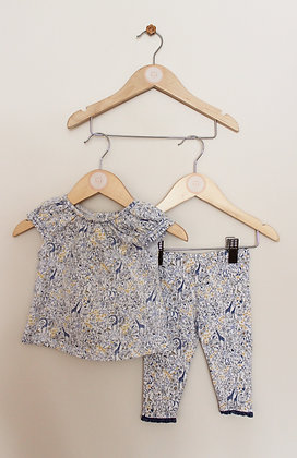 Next 2 piece blue and yellow set (age 3-6 months)