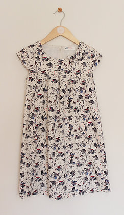 H&M cream cotton dress with bird print (age 7-8)