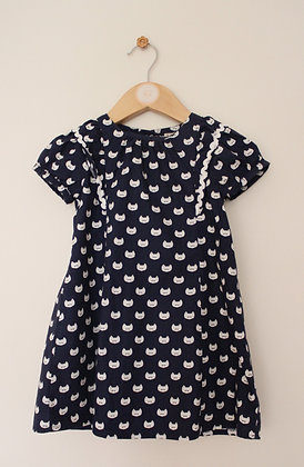 Next navy cotton dress with cat print (age 18-24 months)