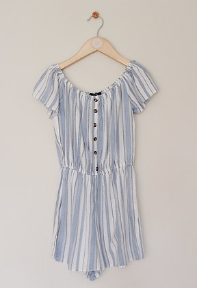 New Look blue and white striped playsuit (age 10)