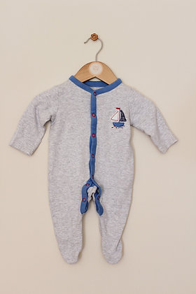 Mothercare grey sailboat sleepsuit (age 0-1 month)