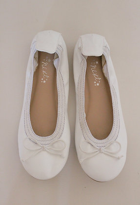 Next white ballet pumps with bows (size 2)