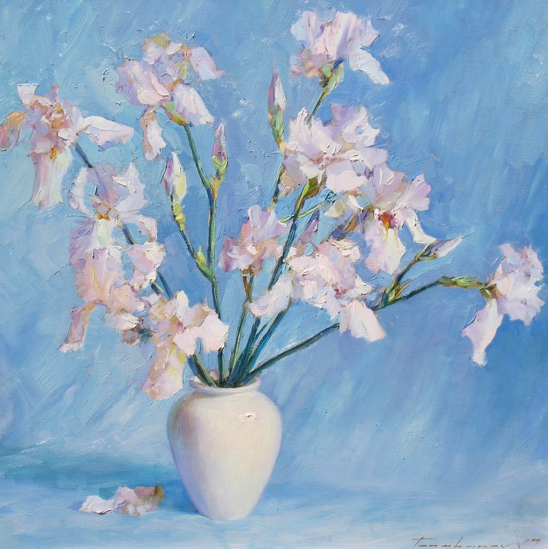 Irises Against The Blue Background