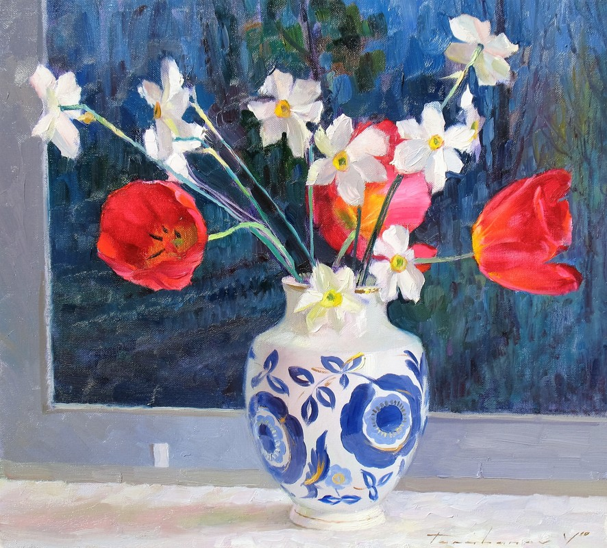 Spring Flowers Against the Painting