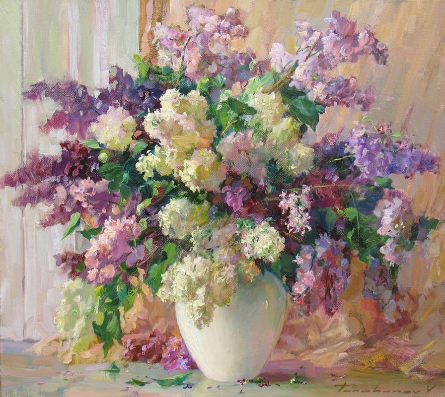Lilacs in a White Vase