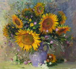 Sunflowers in a Blue Jug