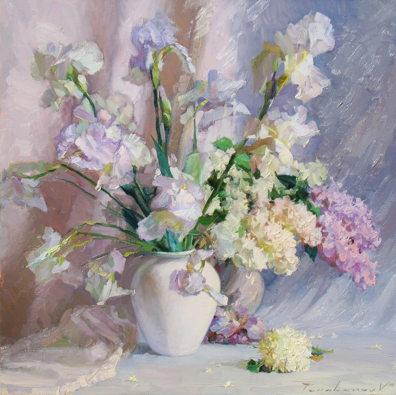 Lilacs and Irises.