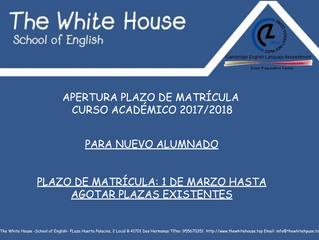 Apertura plazo matricula para nuevos alumnos.
