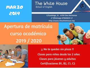 Apertura de Matrícula Curso Académico 2019/2020