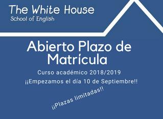 Próximo comienzo curso 2018/2019.