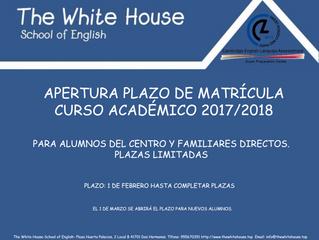 Apertura Plazo Matrícula para alumnos del centro.
