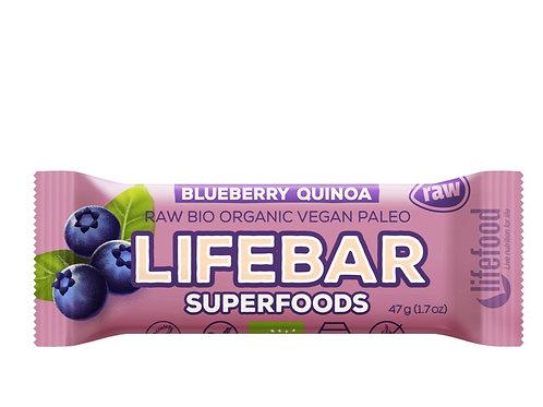 未加工有機Lifebar藍莓麥苗藜麥能量棒(47克) Raw Organic Blueberry Quinoa Lifebar Plus (47g)