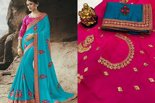 EMBROIDERED WORK LACE  SAREE