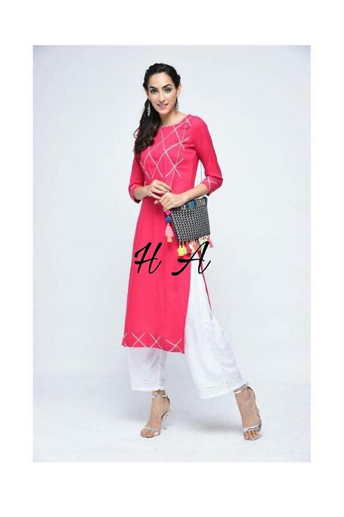 Ha Lace pink kurta set
