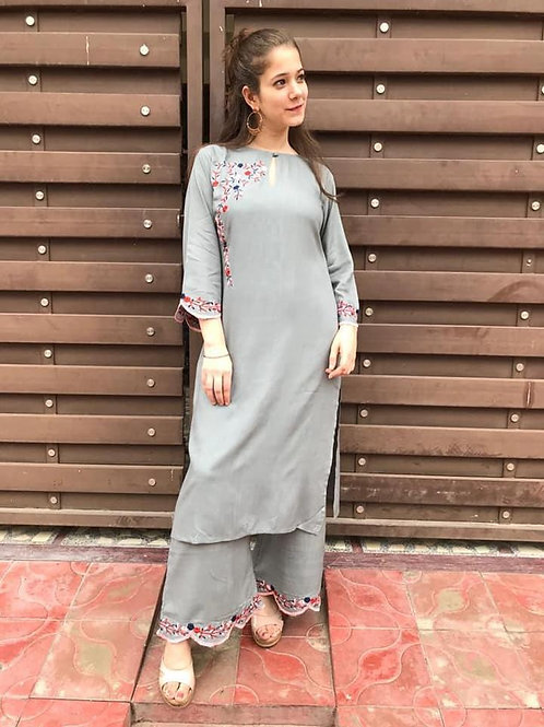 COTTON FLEX With EMBROIDERY WORK  kurti with plazoo